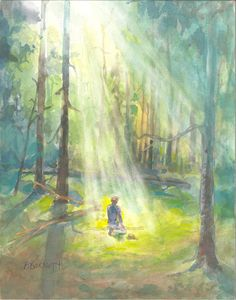 Prayer -- Joseph Smith in the Sacred Grove -- Top-Quality 11 x 14 Print of an Original Watercolor Painting of the First Vision Heaven Painting, Heaven Art, Rain Painting, Watercolor Canvas, Watercolor Paintings, Unique Paintings, Original Paintings, Jesus Christ Painting, Sacred Groves