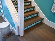 Wood and Blue-Glass Tile Staircase With Modern Railing