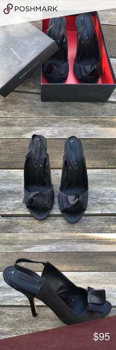 BCBG Black Heels Black satin bow tie heel BCBG Shoes Heels