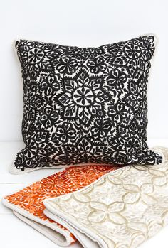 Silk Embroidered pillows from Morocco, handmade in a variety of colors. Embroidered Pillows, Embroidered Silk, Throw Pillows, Handmade, Shopping, Color, Toss Pillows, Hand Made, Cushions