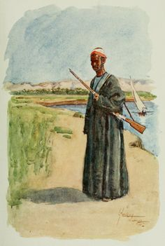 Thackeray, Lance (1869-1916) - The People of Egypt 1916, Watchman. #nile, #egypt, #africa