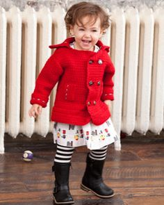 Jump into fall with this fabulous peacoat for kids ages 2 through 6! free