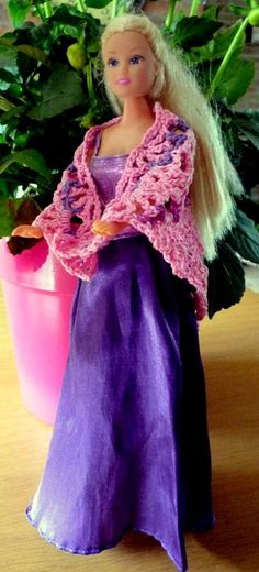 Barbie with crochet shawl, crochet wrap FREE