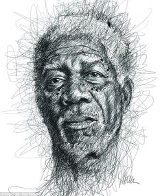 Vince Low creates art from the chaos of pen lines - I like the use of continuous line to create the face of Morgan freedman. It has a very messy look to it but yet so precise. I like how the artist works. He may not have used colours but every detail of the face has been created with just pencil lines. I think this is very creative and somewhat effective.