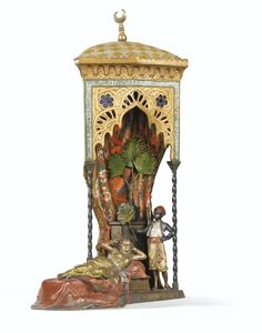 Franz Bergman, 1838-1894 Belle Orientale et son serviteur AN AUSTRIAN 19TH CENTURY POLYCHROME COLD PAINTED BRONZE LAMP WITH A RECLINING ORIENTAL WOMAN AND HER SERVANT, BY FRANZ BERGMAN