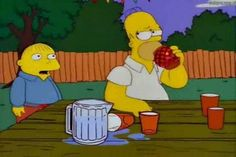 The Simpsons, Homer eats chilli Funny Cartoon Characters, Disney Characters, Fictional Characters, Krusty The Clown, Tv Funny, Batman, Homer Simpson, The Simpsons, Winnie The Pooh