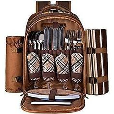 Ferlin Picnic Backpack for 4 With Cooler Compartment, Detachable Bottle/Wine Holder, Fleece Blanket, Plates and Cutlery Set (Coffee) : Patio, Lawn & Garden Wedding Gift Cutlery, Wedding Gifts, Wedding Ideas, Picnic Backpack, Backpack Bags, Picnic Bag, Make A Gift, Gifts For Dad, Beach Park