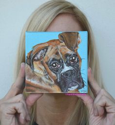 Custom Boxer painting custom pet portrait by PopArtPetPortraits, $75.00 https://www.etsy.com/listing/163571879/custom-boxer-painting-custom-pet