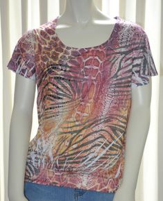 Womens Shirt Size Small S Animal Print Crease Dyed Embellished by Kiara