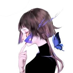 close your mouth and don't say anything at all. Anime Art Girl, Manga Art, Manga Anime, Aesthetic Art, Aesthetic Anime, Kawaii Girl, Kawaii Anime, Anime Butterfly, Familia Anime