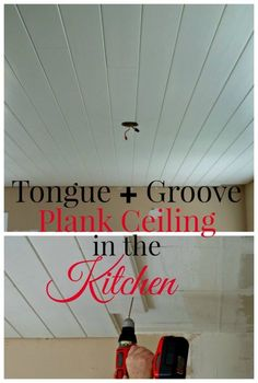 How to install a plank ceiling using tongue and groove pine planks for a farmhouse look in any room. chatfieldcourt.com