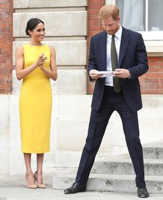 Harry could be seen giving his speech a once over before he took to the stage outside Marlborough house