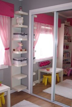 love the closet door and corner shelf, everything in grey or blue obvi