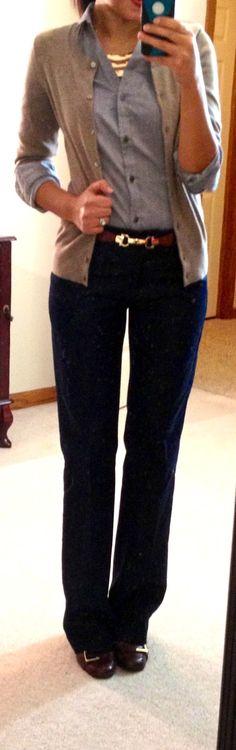 Hello, Gorgeous! H&M button-up, GAP outlet cardi, NY&CO pants, Nine West Jobst pumps, Skinny Metal Bar Stretch belt via ANGL, F21 necklace