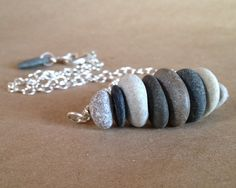 Beach stone necklace  neutral grays and by ChickpeaDesignStudio, $41.00
