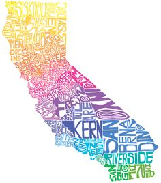 Typographic map of California.