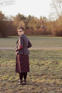 Velvet waistcoat, vintage 90's floral skirt, boots