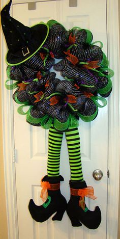 Witchy Boots by GroovyGrannyWreaths on Etsy, $135.00