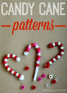 Easy kid-made Christmas ornaments and pattern practice in one!! A great way to work on fine motor skills this holiday season! And since we're working on patterns, this makes a perfect math center for preschool or kindergarten students! #finemotorskills #candycaneactivities #holidaypreschool  #playdoughtoplato