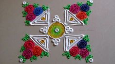 Small, easy and quick rangoli design | Innovative multicolored roses ran...