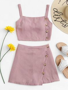 Shop Button Side Crop Cami Top With Shorts online. SheIn offers Button Side Crop Cami Top With Shorts & more to fit your fashionable needs. Girls Fashion Clothes, Teen Fashion Outfits, Mode Outfits, Cute Fashion, Look Fashion, Outfits For Teens, Ladies Clothes, School Outfits, Cute Girl Outfits