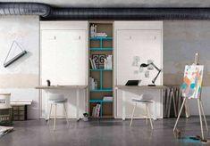 Camas Abatibles, la mejor opción para habitaciones juveniles pequeñas Camas Murphy, Corner Desk, Shelving, Kids Room, Loft, Bed, Furniture, Home Decor, Bed Designs