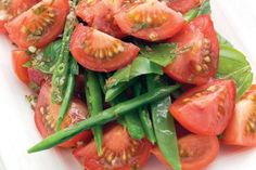 Tomato snow pea and basil salad recipe, NZ Womans Weekly – visit Eat Well for New Zealand recipes using local ingredients - Eat Well (formerly Bite) Vegetable Sides, Vegetable Recipes, Vegan Gluten Free, Vegan Vegetarian, Snow Peas, Coriander, Recipe Using, Salmon Burgers