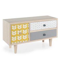Boîte 3 tiroirs en bois H 17 cm YELLOW SUMMER | Maisons du Monde