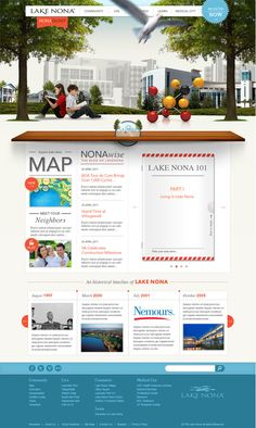 Lake Nona Website: Complex and large amount of content made simple: #interactive panorama, #social media and call to action buttons, clean & simple design - designed by Push, US