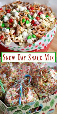 This Snow Day Snack Mix is perfect for movie night, holiday parties, and so much more! Made with all of your favorite snack foods! christmas food and drink Christmas Snack Mix, Holiday Snacks, Christmas Party Food, Christmas Sweets, Christmas Cooking, Holiday Recipes, Holiday Parties, Christmas Recipes, Night Parties