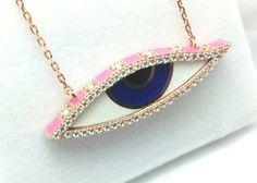 Evil eye Enamel Necklace, Evil Eye Micro Pave Necklace,Fashion Necklace Sterling Silver,Rose Gold Necklace,Protection Necklace by Vaptism on Etsy