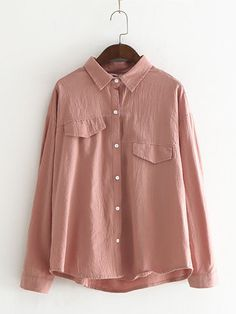 0ad4567ac5 Casual Pure Color Asymmetrical Fake Pocket Shirt for Women can cover your  body well