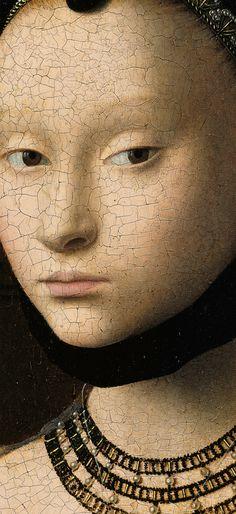 Portrait of a Young Girl detail, 1470, Gemäldegalerie Petrus Christus . Artemis: See high-res.