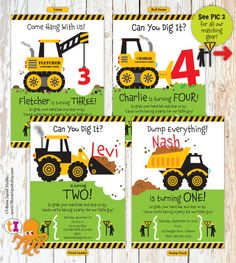 Construction Truck Birthday Party Invitation for Boys This listing is for a DIGITAL, printable file –you will receive NOTHING in the mail. Your file will be emailed to you so please, make sure your correct email address is registered with etsy. ••• If you decide to change size AFTER you