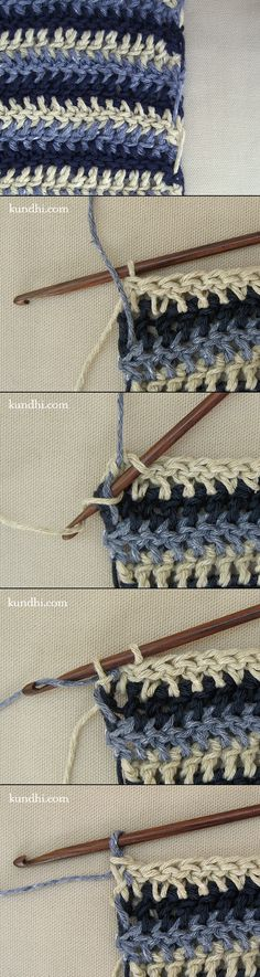 How to: crochet or knit single row stripes...without cutting, weaving or knotting any yarn.