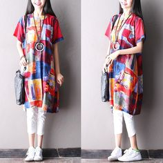Dress - Women Summer Retro Style Loose Cotton Dress
