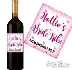 Champagne / Wine Labels Bachlorette Party  - Bride Tribe - Flamingo - Custom Photo Labels - Hen Party  - Tropical Theme - Change the Wording by SilverLiningBackdrop on Etsy