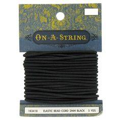 2mm Black Elastic Bead Cord, 5yd for $2, Hobby Lobby