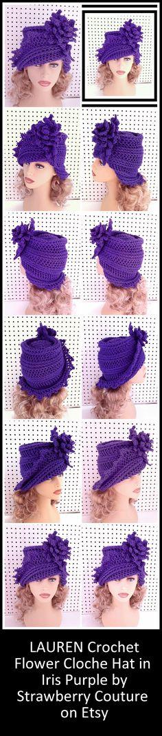 Purple Crochet Hat Womens Hat, Cloche Hat with Flower, Crochet Flower, Iris…