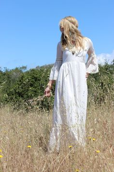 Vintage White Lace Bell Sleeve Wedding Dress by FallowFlower, $128.00