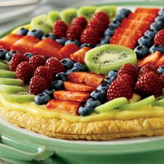 Fruit Pizza Puffs ~ A flaky, golden Pepperidge Farm® Puff Pastry Crust is filled with creamy vanilla pudding and topped with assorted fresh fruit.