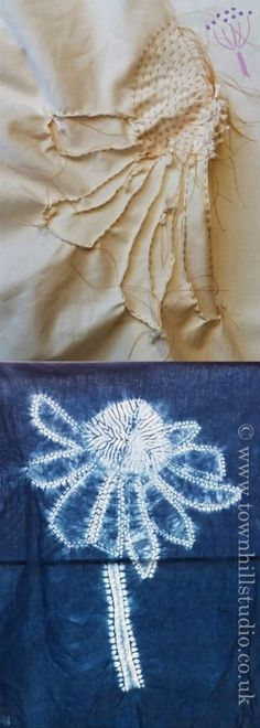 Who else wants to shape an elegant Echinacea flower in shibori stitch resist? Fabric Dyeing Techniques, Tie Dye Techniques, Shibori Fabric, Shibori Tie Dye, Tie Dye Crafts, Tie Dye Patterns, Indigo Dye, Fabric Manipulation, How To Dye Fabric