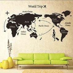 Weltkarte Wandtattoo Wandaufkleber Wandsticker Wandbilder für Schlafzimmer und Wohnzimmer