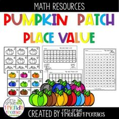 Math Centers - Pumpkin Patch Place Value - Numbers 1 - 120 | TpT Fun Math, Math Games, Math Activities, Thanksgiving Math, Framed Words, Math Graphic Organizers, Halloween Math, Common Core Math, Place Values