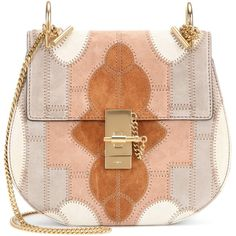 Chloé Drew Small Flower Patchwork Leather and Suede Shoulder Bag ($2,330) ❤ liked on Polyvore featuring bags, handbags, shoulder bags, purses, multicoloured, red shoulder bag, man shoulder bag, shoulder handbags, handbags shoulder bags and chloe handbags