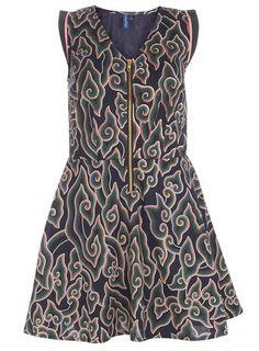 Ruby Rocks Blue Print Zip Front Dress