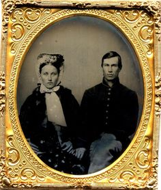 This guy is RIDICULOUSLY handsome. Tintype of a Union soldier and his lady (source: ebay)