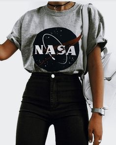 Cute outfits - Nasa graphic tee with high rise black jeans Visit Daily Dress Me at dailydressme com for more inspiration women's fashion fall fashion, winter fashion, casual outfits, school Teen Fashion Outfits, Outfits For Teens, Fall Outfits, Fashion Clothes, Fashion Women, Fashion Fashion, Tumblr Fashion, Fashion Dresses, Fashion Spring