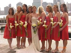bridesmaids with calla lily stems