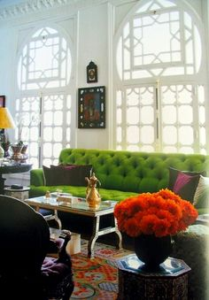beautiful windows . tufted green couch . by alberto pinto . via deach bungalow 8 . #thingsmatter